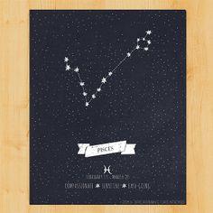 Pisces Zodiac Art  Constellation Print  by WoodlandMoonStudio, $5.00