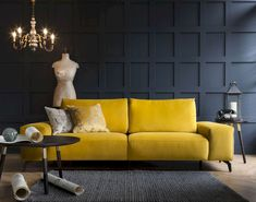 55 Beautiful Yellow Sofa for Living Room Decor Ideas Cozy Living Rooms, Living Room Sofa, Living Room Furniture, Living Room Decor, Sofa Design, Interior Design, Sofa Uk, Sofa Chair, Desk Chair
