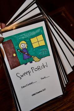"""Kid chore cards. Add a little picture. Each chore is worth a set amount of points. End of the week, they """"cash in"""" the points towards a reward."""