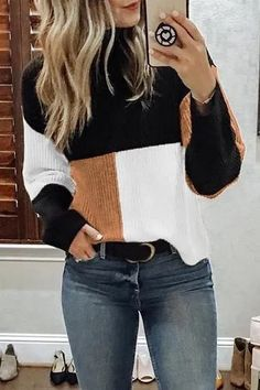 clothes for women,casual outfits,base layer clothing,casual outfits Sweater Outfits, Casual Outfits, Cute Outfits, Fashion Outfits, Womens Fashion, Fashion Trends, Fashion Top, Fashion Ideas, Knit Fashion