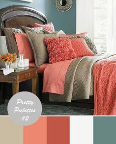Coral and tan bedroom Possible bedroom colors Tan Bedroom, Home Bedroom, Master Bedroom, Bedroom Ideas, Pretty Bedroom, Peach Bedroom, Girls Bedroom, Modern Bedroom, Extra Bedroom