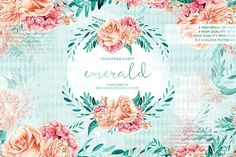 Emerald & Mint Watercolor Flowers by Frou Fou Craft on @creativemarket