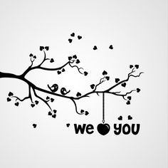 Tak met vogels - We love YOU - sjablonen, muurstickers, woning decoratie