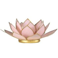 Porte Bougie Fleur de Lotus rose pastel
