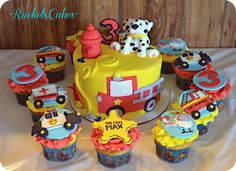 Emergency vehicle cake and cupcakes