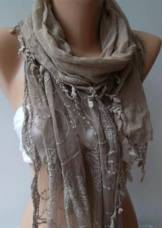 Stone Color  Elegance Shawl / Scarf with Lace Edge by womann,