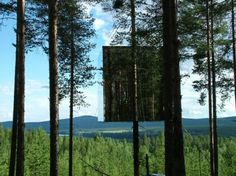 """Mirrorcube. A Harads """"live in a tree house"""" concept design hotel by Tham & Videgård architects."""