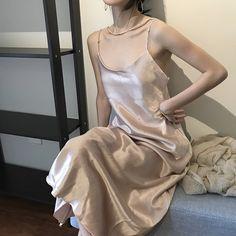 Retro South Korea chic wind late at night with the same silk silky texture satin dress temperament harness dress pajamas dress
