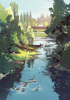 Sammamish River Plein Air by Mike McCain Concept Art Landscape, Fantasy Landscape, Landscape Art, Landscape Paintings, Landscapes, Environment Concept Art, Environment Design, Art Vaporwave, Art Steampunk