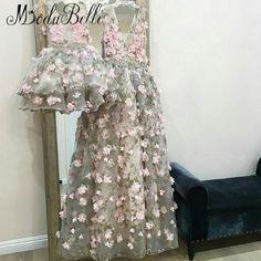 935f01c85d6f modabelle 3D Flowers Evening Dress Robe De Soiree Dubai A-line 2019 Long  Mother And