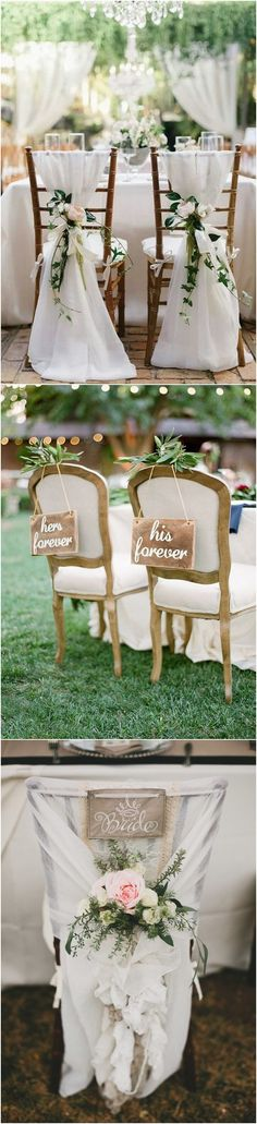 chic bride and groom wedding chair decoration ideas