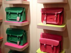 Accessory display at The Cambridge Satchel Company in Covent Garden, London. Photo by alphacityguides.
