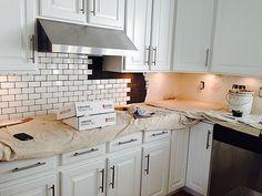 SUBWAY TILE KITCHEN BACKSPLASH HOW TO   Home Depot Daltile Brand Tiles,  About $2.50 Per