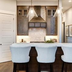Brown Stained Kitchen Cabinets