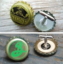 Bottle cap cuff links. If only I were fancy enough to ever wear a shirt that required cuff links.