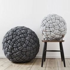 Knotty Poufs by Sasha Fefelova. a very interesting way to make a pillow or a pouf. Futons, Home And Deco, Floor Cushions, Decoration, Home Accessories, Furniture Design, Sweet Home, Design Inspiration, Blanket