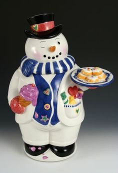 Rare-Holiday-Christmas-snowman-cookie-jar-by-Tammany-Devine-1999