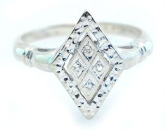 Antique Diamond Cocktail Ring in 14k Solid White Gold No Reserve
