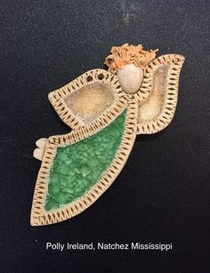 Angel with green marbles and white opalescent wings by Polly Ireland, Natchez Mississippi Clay Angel, Natchez Mississippi, Pottery Classes, Green Marble, Pottery Making, Marbles, Ireland, Wings, Salt Dough