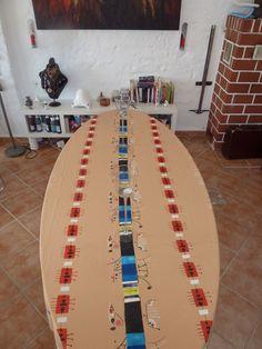 tischdecke,160x260cm,cotton.einzelstück Small Furniture, Vase, Textile Design, Table, Vases, Jars