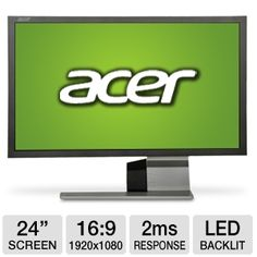 "Bring your movies to life with the Acer S243HL bmii 24"" Widescreen LED   Slim Monitor!    If you want to blow away the competition in a game or enjoy a movie during your downtime, you need the Acer 24"" Widescreen LED Slim Monitor. With its full-HD functionality and two HDMI ports, you'll see detailed images that are a visual delight. It features a slim design, so you can set up the Acer 24"" Widescreen LED Monitor almost anywhere you want it."