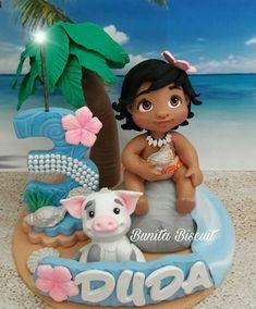 Moana Birthday Party, Moana Party, Fondant Cake Toppers, Cupcake Cakes, Hawaii Cake, Festa Moana Baby, Bolo Moana, Polymer Clay Disney, Movie Cakes