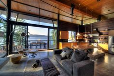 Living Room Modern Cabin Overlooking The Coeur D'Alene Lake in North Idaho