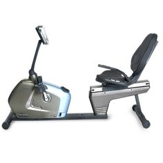 Velocity Exercise Recumbent Exercise Bike. Extra thickly padded seat with side bolsters and lumbar support and oversized pedals with toe straps for added comfort during your ride. Adjustable resistance and heavy duty flywheel. Drum magnetic control system (DMC System) for a smooth and efficient workout, double sealed bearings and 3 piece axle/ crank. Front transportation wheels for easy transport and storage. Large easy to read LCD display with dual color back light.