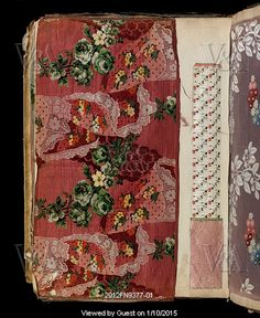 Sample of dress silk with scrolling flowers around lace handkerchiefs, from a travelling salesman's swatch book. Woven silk. Lyon, France, late 18th century