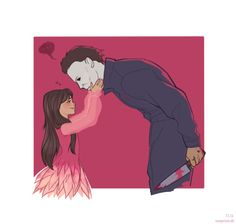 Something cute for a change, now about Michael and Jamie. The kiss is meant to be something cute, not perverted <,< XP Halloween/Michael Myers, Ja. Slasher Movies, Horror Movie Characters, Horror Movies, Halloween Film, Glitter Photo, Michael Myers, Original Movie, Kawaii, Scary Movies