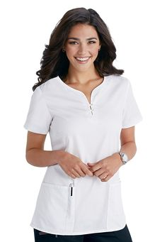 The Beyond Scrubs Henley scrub top in White has a classic, feminine fit and accents such as two buttons at the neckline, sleeve vents, and button detail.  This cute top is made of a soft, cotton French twill fabric that feels great all shift long. | Scrubs & Beyond