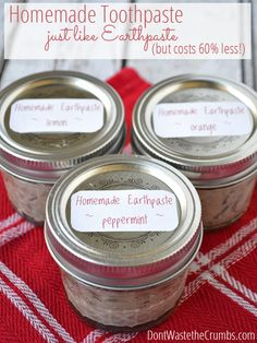 Our favorite toothpaste is Earthpaste, but we've figured out how to make it at home for just a fraction of the cost!  Just a few ingredients and within minutes, you've got homemade clay toothpaste in whatever flavor you want! :: DontWastetheCrumbs.com