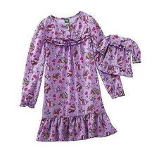 Dollie Me Matching Purple Girls 4 5 6X Cupcake Nightgown Set American Girl Doll