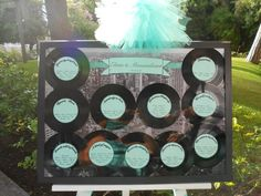 Seating chart for my lovely Ele&tissi wedding #tableau #tableaux #ny themed #vinyl records #Queen songs #tiffany blue (mint green aqua)