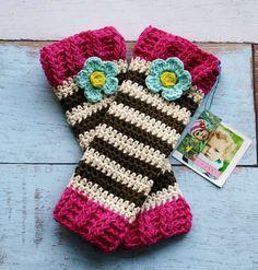Girls Crochet Leg Warmers in Brown, Cream, Blue, Yellow, Pink- Toddler and Girls leggings, leg wear, kids, knit, leg warmers, accessories on Etsy, $32.00