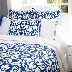 Bedroom inspiration and bedding decor | The Montgomery Cobalt Blue Duvet Cover | Crane and Canopy