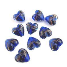 Gold Foil, Illusions, Glass Beads, Artisan, Clock, Dark, Handmade, Blue, Watch