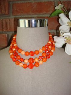 Fab Orange & Peach Beaded 50's Necklace Vintage by CoolFindsShoppe