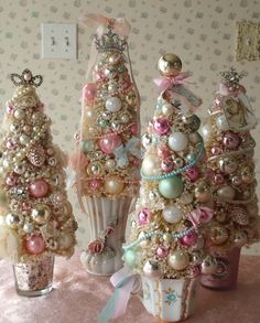 beautiful little pastel sparkly trees- pretty in the girl's room for a princess christmas-