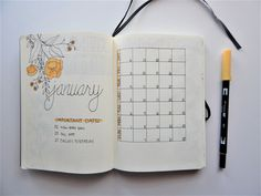 Bullet Journal Monthly Layout January