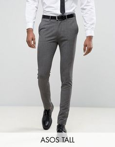 Browse online for the newest ASOS TALL Super Skinny Suit Pants In Salt & Pepper styles. Shop easier with ASOS' multiple payments and return options (Ts&Cs apply). Skinny Suits, Grey Trousers, Men Formal, Super Skinny, Asos, Menswear, Suit Pants, Mens Fashion, Man Style