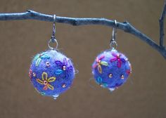 Embroidered Flowers Felt Bead Earrings NEW by BeadedBlessings96