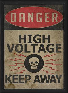 Danger High Voltage Framed Textual Art