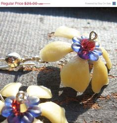 VALENTINES SALE Creamy Butter Yellow Flower Dangle by BeJeweledNH, $20.00