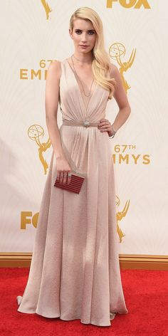 Emma Roberts - Emmys 2015 Red Carpet Arrivals - in custom Jenny Packham - from InStyle.com