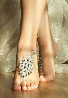Rhinestone anklet,  rhinestone bangle, peacock rhinestone bangle, gold silver blue blush, barefoot sandals, beach wedding sandals,