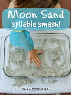 Moon Sand Syllable Smash Game is a sensory hands on way for kids to segment parts in a word Preschool Learning Activities, Art Activities For Kids, Toddler Preschool, Preschool Activities, Kids Learning, Space Activities, Alphabet Activities, Creative Activities, Special Education