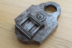Huge German antique trick padlock with clock dial