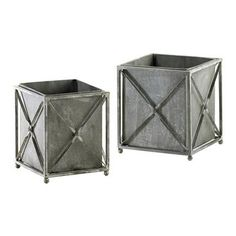 Set of 2 Sheldon Gray Wash Wrought Iron Rustic Square Planters7 inches high x 7 inches wide x 7 inches deep; 7.5 inches high x 7.5 inches wide x 7.5 inches deep Kathy Kuo Home $40 sale ($70)