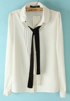 ++ White Long Sleeve Cravat Embellished Pleated Blouse